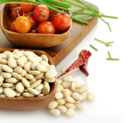 lima beans white beans: Baby Lima Beans , Tomatoes And Spices In Wooden Bowls