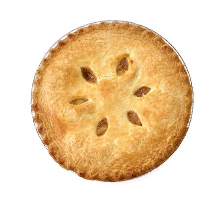 Apple Pie On White Background , Top View photo