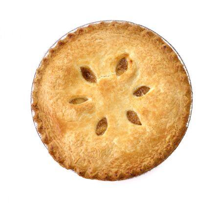 tourtes: Tarte aux pommes sur fond blanc, vue de dessus