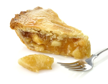 A Slice Of Apple Pie On White Background ,Close Up