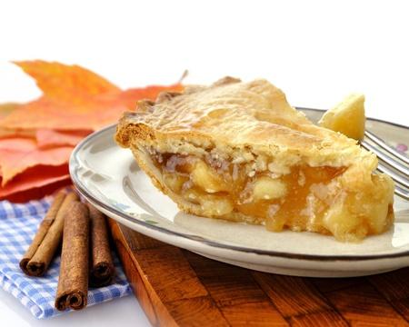 tarta de manzana: Una rebanada de pastel de manzana en un plato, Close Up