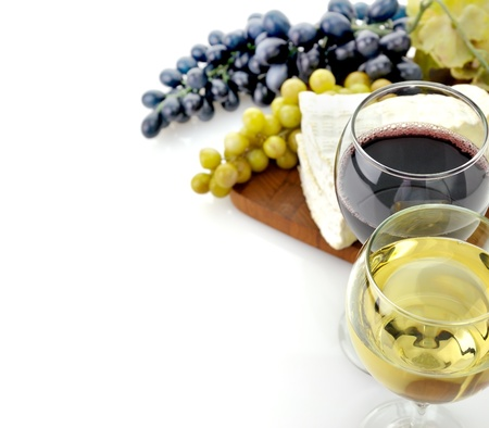 white wine: Red And White Wine Glasses with Cheese And Grape