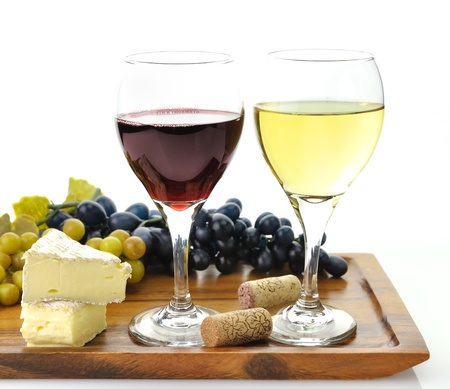 Red And White Wine Glasses with  Grape And Cheese 版權商用圖片