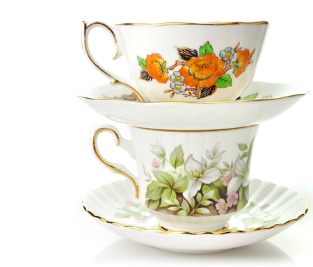 porcelain: Two Vintage Coffee Or Tea Cups On White Background