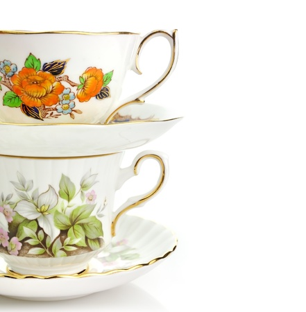 crockery: Two Vintage Coffee Or Tea Cups On White Background