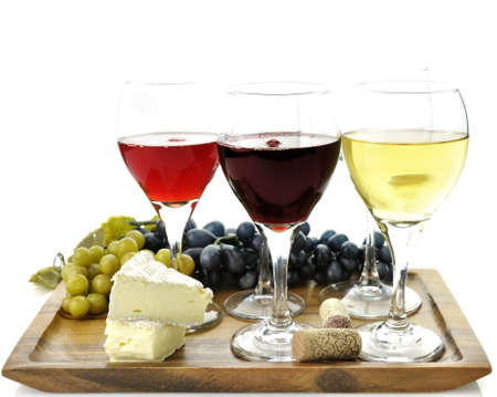 Assortment Of Wine Glasses With Grape And Cheese