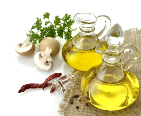 Olive Oil Spices And Mushrooms On White Background photo