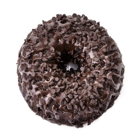 Gourmet Chocolate Cake with Chocolate Chips On White Background photo