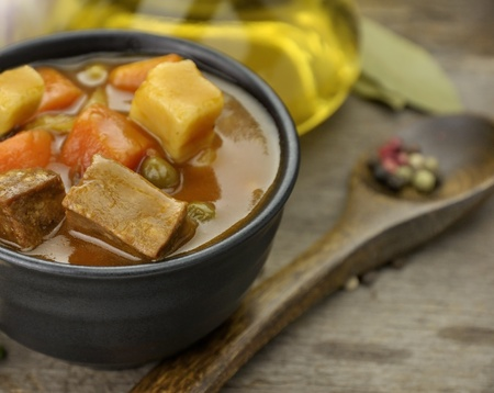 stew pot: Beef Soup With Vegetables, Close Up Shot  Stock Photo