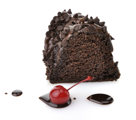 icing: Gourmet Chocolate Cake with Chocolate Chips On White Background  Stock Photo