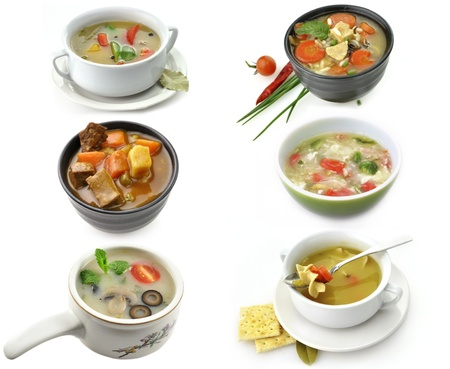 Bowls Of Healthy Soup On White Background photo