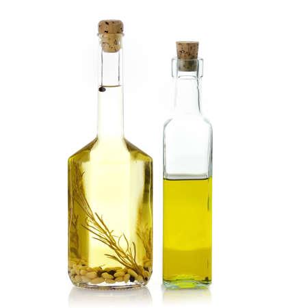 Cooking Oil Glass Bottles On White Background Stock fotó