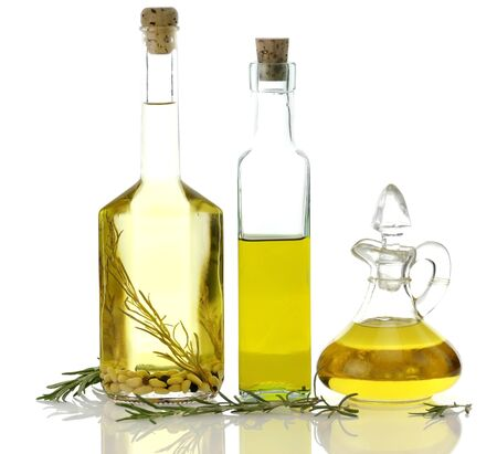 cooking oil: Assortment Of Cooking Oil In Glass Bottles Stock Photo