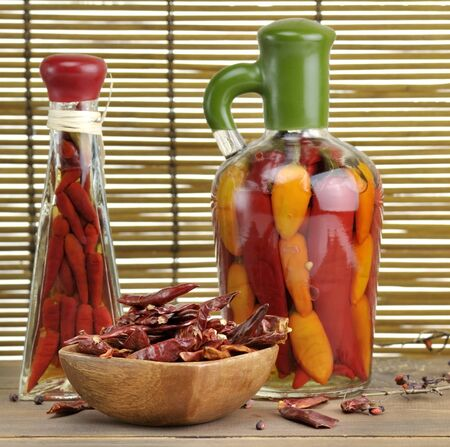 Assortment Of Hot Pepper On A Wooden Table Stock Photo - 11838979