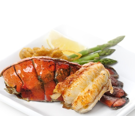 lobster: Grilled Lobster Tail Served With Asparagus And Onion