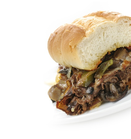 Steak Sandwich With Cheese Beef And Vegetables