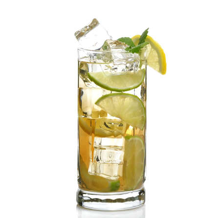 ice lemon tea: Glass Of Drink With Ice Cubes , Lime And Lemon Stock Photo