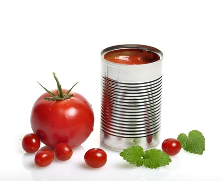 Open Can With Tomato Soup And Fresh Tomatoes