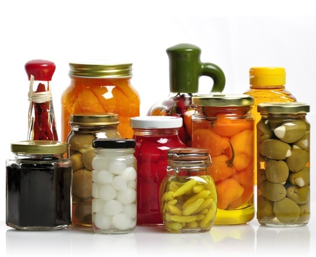canned food: Glass Jars Of Preserved Fruits And Vegetables