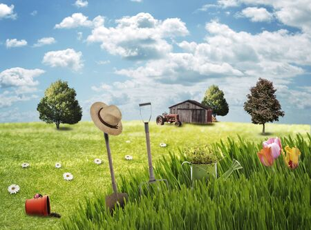 Spring Landscape With Garden Tools And Flowers photo