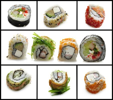 Fresh Sushi Assortment On White Background