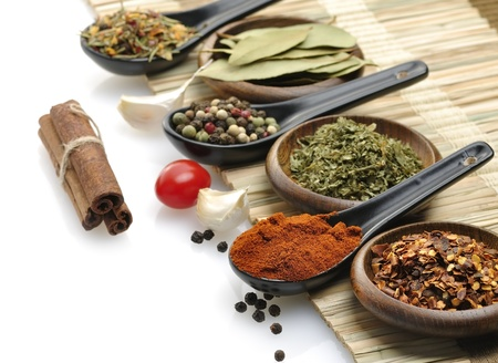 Variety Of Spices In Spoons And Bowls photo