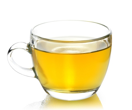 Glass Cup Of Green Tea On White Background