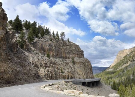 Winding Mountain Road In The Yellowstone National Park photo