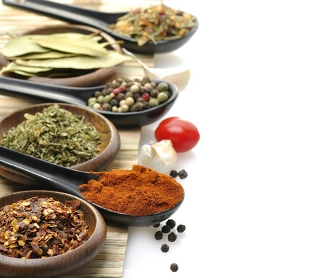 cumin: Variety Of Spices In Spoons And Bowls
