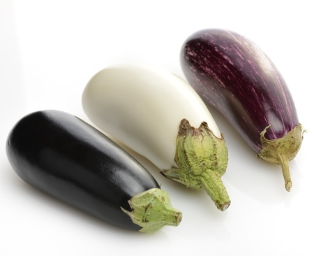 Eggplants Assortment On White Background