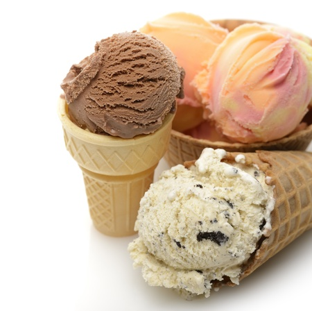 Ice Cream Assortment In Wafer Cups,Close Up Stock Photo