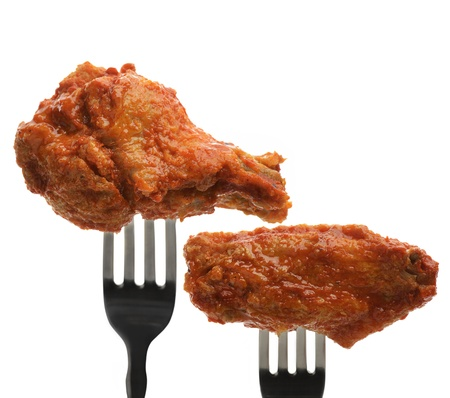 hot wings: Buffalo Chicken Wings On The Forks Stock Photo