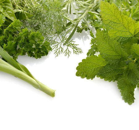 Fresh Herbs Assortment On white Background Stock Photo