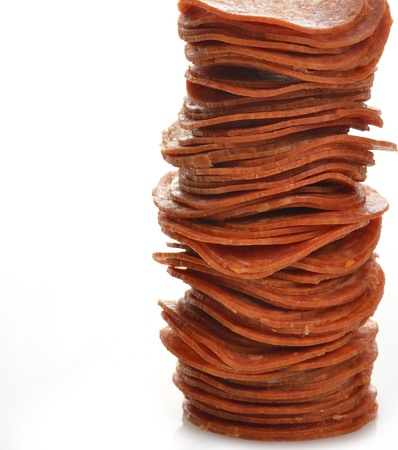A Stack Of Pepperoni Slices On White Background
