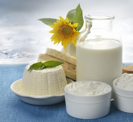 dairy: Молочные продукты на фоне природы Фото со стока