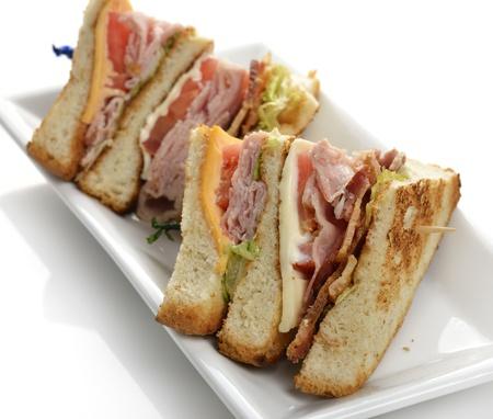 ベーコンとハムのクラブ サンドイッチ 写真素材