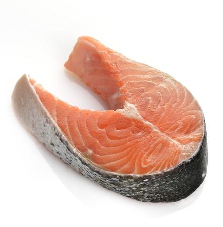 Piece Of A Raw Salmon On  White Background  Фото со стока