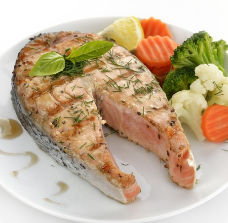 Slice Of Salmon And Vegetables ,Close Up Stock Photo - 15524130