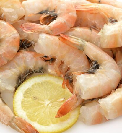 Fresh Shrimps And Lemon, Close Up photo