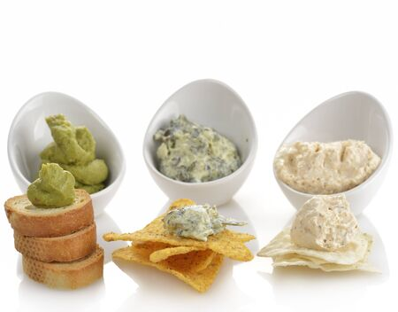 Dips With Corn Chips And Toasts Stok Fotoğraf