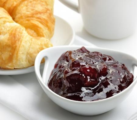 Strawberry Jam And Fresh Croissants,Close Up Stock Photo - 15544700