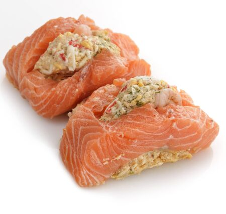 Raw Stuffed Salmon On White Background photo