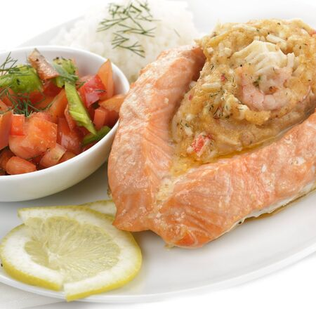 Stuffed Salmon With Rice And Vegetables