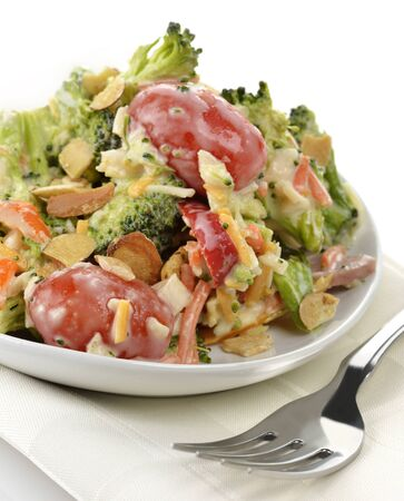 broccoli salad: Fresh Healthy Salad ,Close Up Stock Photo