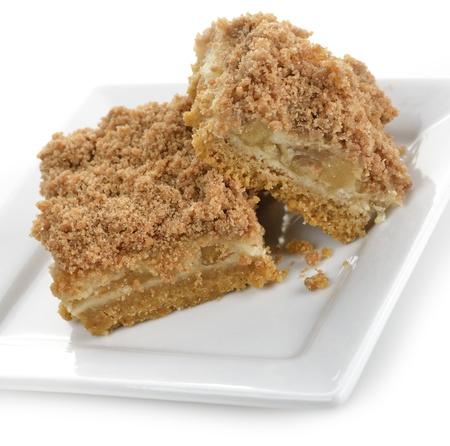 Apple Pie Bars Op Een Witte Plaat Stockfoto