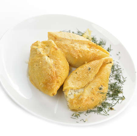 Large Pasta Shells Filled With Ricotta, Mozzarella And Parmesan Cheese