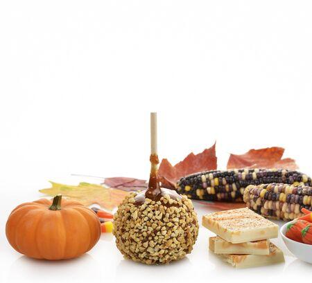 candy corn: Halloween Treats On White Background
