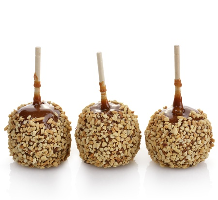 Caramel Apples On White Background photo