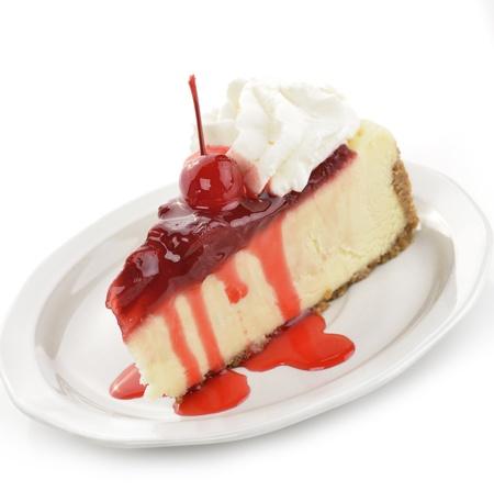 Kers En Strawberry Cheesecake Slice Stockfoto