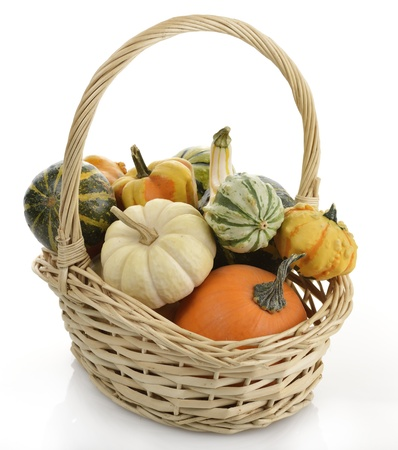 Mini Pumpkins In A Basket photo